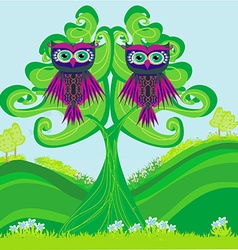 Owls couple sitting on a green tree vector image