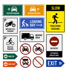 Parking area compound signs signboards a set of vector