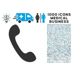 Phone Icon with 1000 Medical Business Symbols vector image
