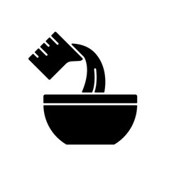 Pour cooking ingredient black glyph icon vector