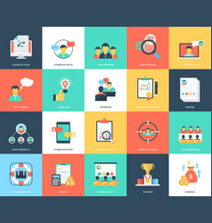 Project management flat icons set vector