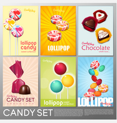 Realistic colorful candy shop brochures set vector