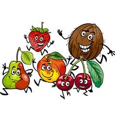 running fruits group cartoon vector image