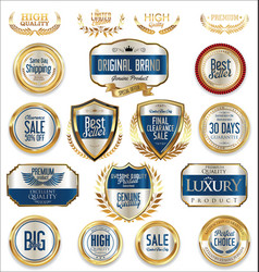 sale retro vintage golden badges and labels 03 vector image