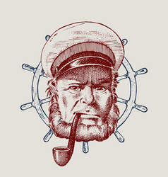 Sea captain and steering wheel marine old sailor vector