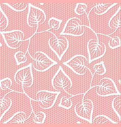 Seamless leaves lace pattern on pink background vector