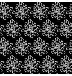 Seamless pattern with grey flowers vector