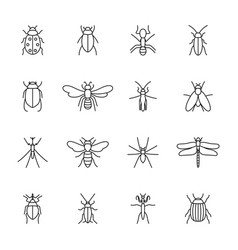 Set icons insects vector