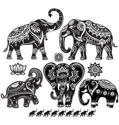 Set of decorated elephants vector image