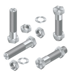 Set of isometric steel screws bolts nuts vector