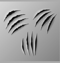 set scratches - realistic torn grey paper vector image