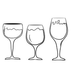 Set wine glasses goblets in ink hand drawn vector