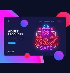 Sex safe neon creative website template design vector