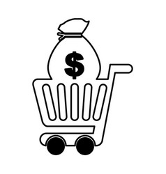 Shopping cart with money bag vector