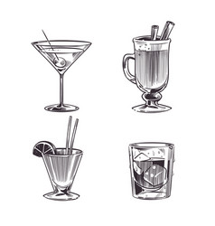 Sketch cocktails alcohol drinks hand drawn cold vector