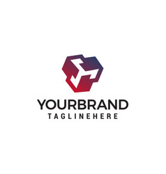 square technology logo design concept template vector image