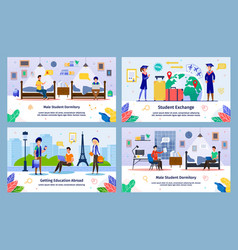 Student exchange abroad education banners vector