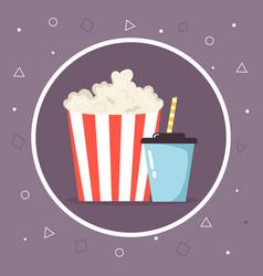 super combo pop corn and sweet soda drink cinema vector image