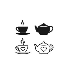 Teapot cup icon linear outline flat design vector
