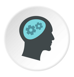 Thought process in head icon circle vector