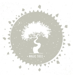Tree silhouette in a circle vector