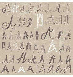 Vintage Set of 50 varied hand drawing letters A on vector image