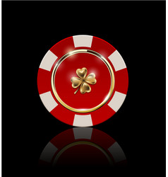 Vip poker red and white chip with golden ring vector