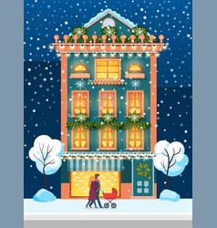 Winter city house in and people with pram vector