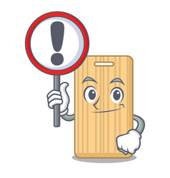 with sign wooden cutting board character cartoon vector image