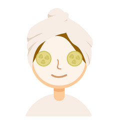 Woman with facial mask and cucumber slices on her vector