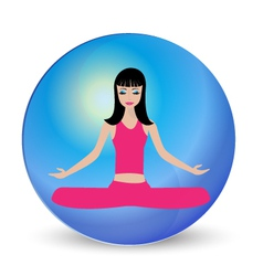 Yoga girl meditation logo vector image