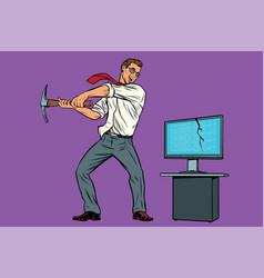 Businessman breaks the computer cryptographer vector