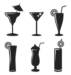 cocktail drinks black web icon set vector image vector image