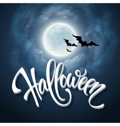 Halloween design with full moon with blue sky vector image vector image
