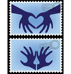 heart hands stamps vector image