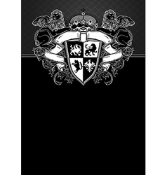 ornate frame with shield vector image vector image