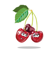 red cherry cartoon characters vector image vector image