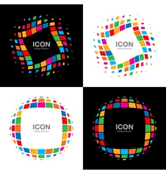 Set of Abstract Bright Rainbow Halftone Logo vector image vector image