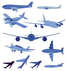 Set of simple symbols of aircrafts vector image vector image