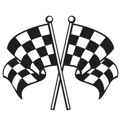 two crossed checkered flags vector image