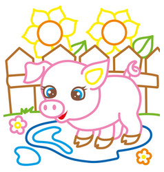 coloring book of pig near sunflowers vector image