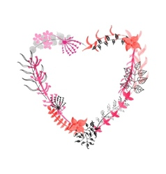 Hand drawn floral heart vector image