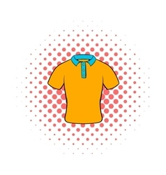 Mens polo shirt icon comics style vector image vector image