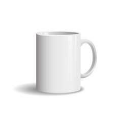 photo realistic white cup on white background vector image vector image