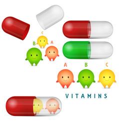 vitamin pills and medicine capsule clipart set vector image vector image