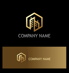 gold building polygon company logo vector image