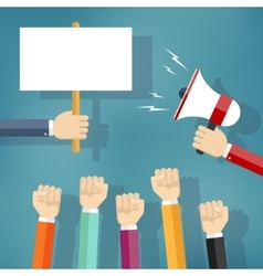 Hands holding protest sign and bullhorn vector image vector image