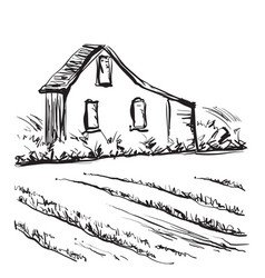 Landscape with fields and building hand drawn vector