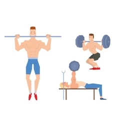 Man lifting heavy weight barbell sport gym people vector image vector image