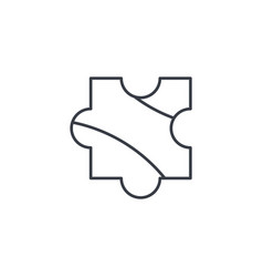 puzzle part jigsaw piece solution thin line icon vector image